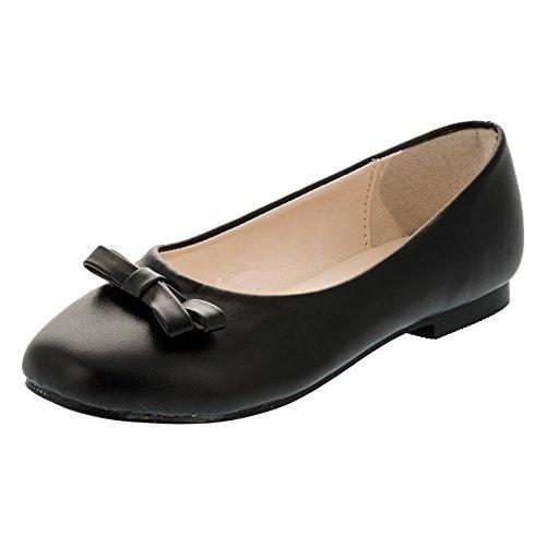 Max Shoes Festliche Mädchen Ballerinas Schuhe Schleife in Vielen Farben M344sw Schwarz 28