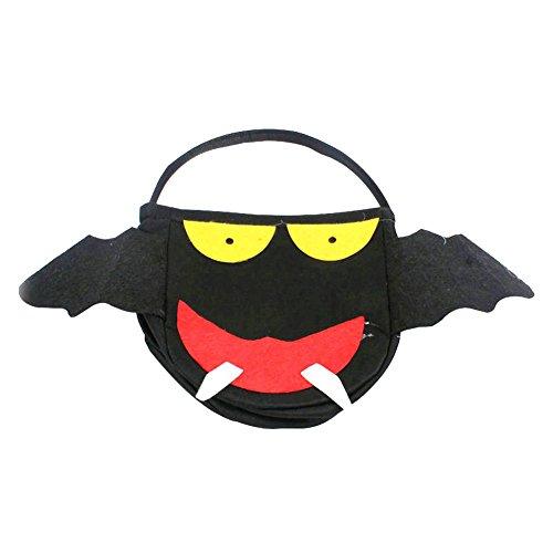 n-Stützen Kürbis-Korb-Kind-Handkürbis-Beutel-Geschenk-Süßigkeits-Beutel-Süßigkeits-Beutel-Schwarz-Teufel-Schläger-Beutel (Halloween-korb)