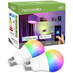 Ampoule LED Wifi Intelligente RGB+Blanc Chaud 2700K, Lampe E27 9W Equivalent de 75W 900LM, Compatible avec Alexa, Echo, Google Home et IFTTT, Novostella à Intensité Variable et Multicolore, 2PCS
