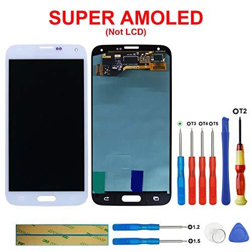 swark Super AMOLED Display für Samsung Galaxy S5 SM-G900F G900F weiß + Werkzeug Opening Tool Modellnummer: GH97-15959B