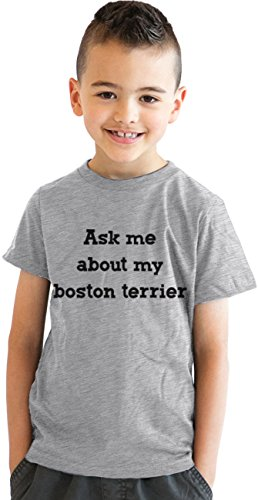 Crazy Dog TShirts - Youth Ask Me About My Boston Terrier Tshirt Funny Dog Owner Flip Up Tee For Kids (Grey) L - jungen - L