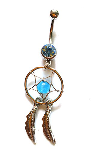 belly button Ring Body Piercing Schmuck baumeln Dream Catcher Kristall Gem 14 G Edelstahl - Dream Button Belly Catcher