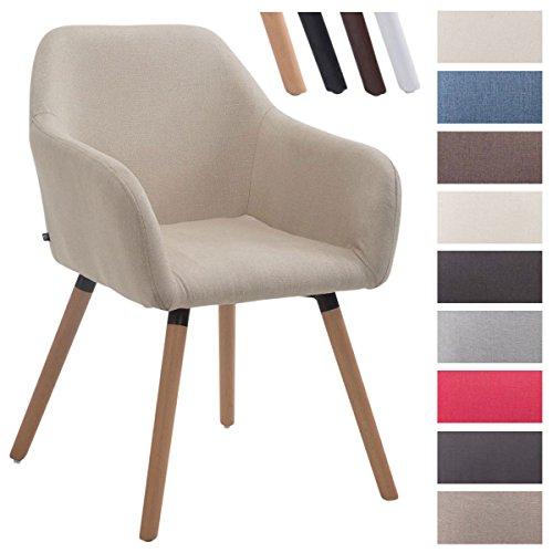CLP Chaise de visiteur ACHAT V2 en tissu, avec accoudoirs, capacité de charge max 150 kg, piètement en bois, siège rembourré, avec capuchons protège-sol crème, Piètement: nature