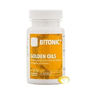 Integratore Alimentare di Omega 3 da Olio di Alghe Puro | Acidi Grassi Essenziali DHA, EPA e ALA | Senza Olio di Pesce | Vegan & Senza Glutine | B!TONIC Golden Oils - 60 Capsule