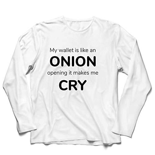 lepni.me Herren T Shirts Meine Brieftasche ist wie eine Zwiebel, Kein Geld Lustiger Job, Büro-Humor (XS Weiß Mehrfarben)