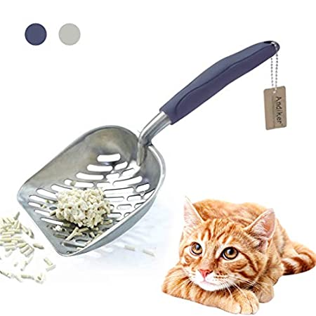 Andiker Katzenstreuschaufel aus Metall, langlebig, groß, mit ergonomischem langem Griff und großen Löchern, leicht zu reinigen