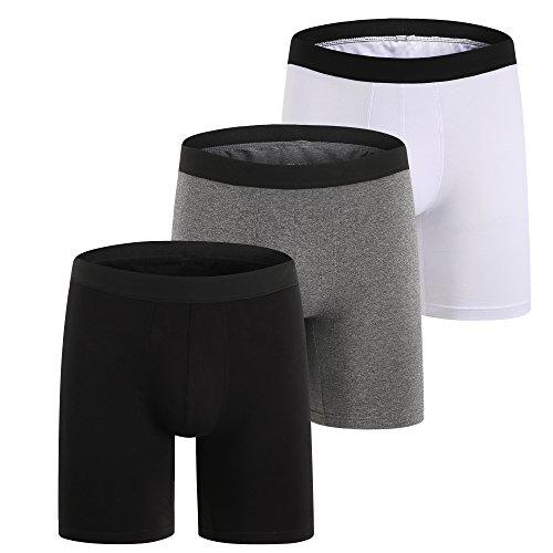 ZLYC Herren Boxershorts aus Baumwolle mit Langen Beinen, 3 Pack Mehrfarbig, XL(40-42zoll/102-107cm) -