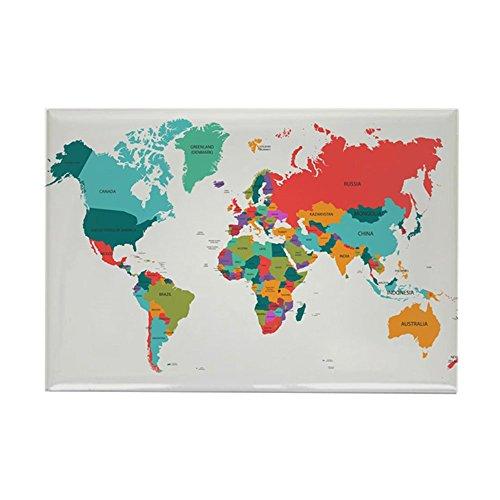 CafePress–Weltkarte mit der Name der Länder Magnete–Rechteck Magnet, 5,1x 7,6cm Kühlschrank Magnet