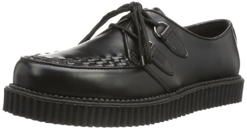 Demonia CREEPER-602 Herren Schnürhalbschuhe, Schwarz (Blk Leather), EU 44 (UK 11) (US 12)