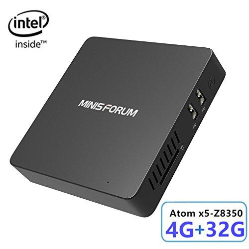 Preisvergleich Produktbild Z83-F Lüfterloser Windows 10 Mini PC,  Intel Atom Prozessor x5-Z8350 (2M Cache,  bis zu 1, 92 GHz) 4K / 4GB / 32GB 1000Mbps LAN 2.4 / 5.8 Dualband WiFi BT 4.0 Dual Screen Display mit HDMI &VGA Anschlüssen