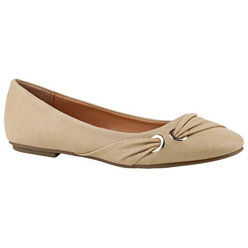 472ac53a2ffa Klassische Damen Ballerinas Leder-Optik Flats Übergrößen Flache Slipper  Spitze Prints Strass Schuhe 142337 Creme Gold 36 Flandell