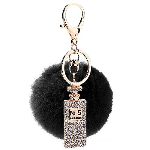Preisvergleich Produktbild Fell Ball Autoschlüssel, YOGOO Mode Parfüm Flasche Perle Strass Schlüsselanhänger für Damen Tasche oder Ihr Handy (Schwarz)