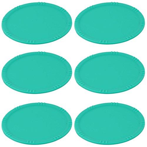 sourcingmap® 6x Küche Silikon Runde Tasse Hitzebeständige Untersetzer Tischschutz Matte Grün