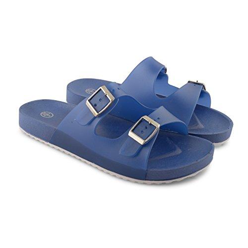 Footwear Sensation - Jelly Open Toe Mules donna Rosa (Blu)