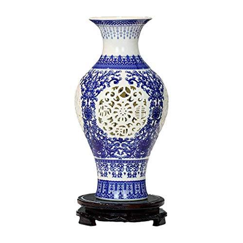 Vasen CHENGYI Openwork Keramik Jingdezhen Chinesische Antike Blaue und Weiße Porzellanflasche Dekoration Ornamente Blumenarrangement Flasche (Color : D) - Crackle Glas Antik