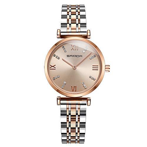 SHshou-L Uhr-beiläufige Art- und Weiseeinfaches Diamant-römische Skala-Damen-Stahlgürtel-wasserdichtes Quarz-weibliches Uhr-Armband,golddial
