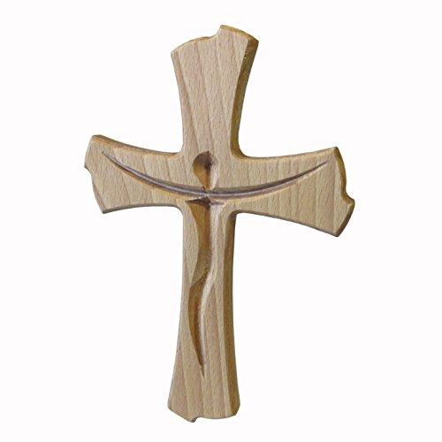Kaltner Präsente Geschenkidee - Wandkreuz Echt Buche Holz Kreuz Kruzifix für die Wand 20 cm modern