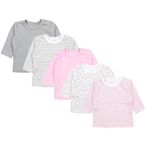 TupTam Baby Mädchen Langarmshirt Sterne 5er Pack, Farbe: Farbenmix 2, Größe: 68 -