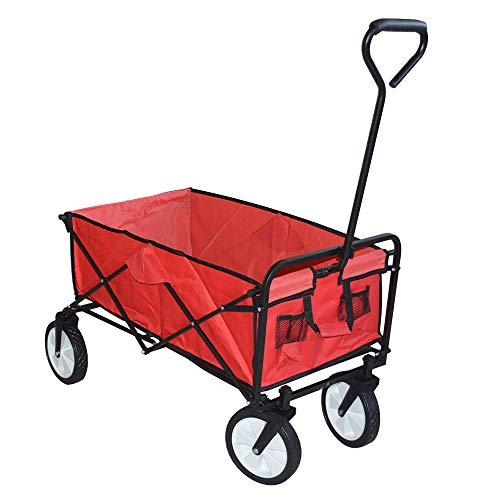 HENGMEI Faltbarer Bollerwagen Handwagen Faltwagen Transportwagen Gartenwagen Traglast 70 kg 360° Räder - für Gärten, Einkaufsmöglichkeiten, Rot