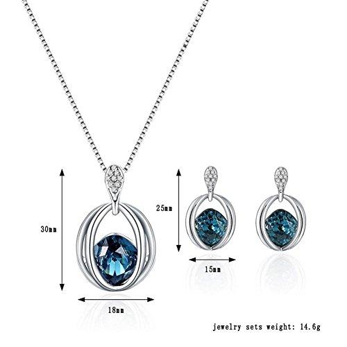 764dd44f9656 Scrox Collar Pendientes Cristal de Diamante Elegante Joyas de Mujer Conjunto  de Cristal Colgante ...