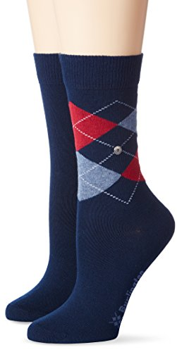 Burlington Damen Socken Everyday Argyle-Uni Mix, 2er Pack, Blau (Marine 6120), 36-41