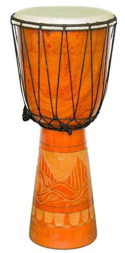 Kascha - 50cm Djembe Trommel Bongo Drum Buschtrommel Afrika-Style handgeschnitzt aus Mahagoni Holz Gecko