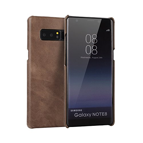 EKINHUI Case Cover Frosted Style Genium Leder Rüstung Shell Back Cover Case für Samsung Galaxy Note 8 ( Color : Red ) Coffee