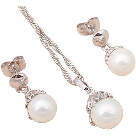 Bling fashion personalità perla argento filled AAA Zirconia Cristallo Bianco Set collana orecchini collana Fashion Jewelry js428a
