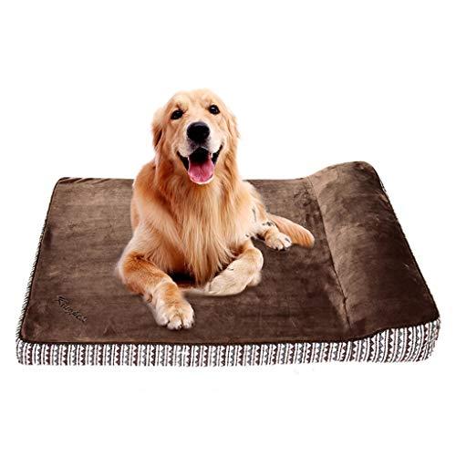 Kissen Top Orthopädisches Hundebett Memory Sponge Kurze Plüsch Lounge Matratze Haustierbett für mittlere und große Rasse Hunde Golden Retriever Labrador Abnehmbarer Bezug - Plüsch-top-matratze