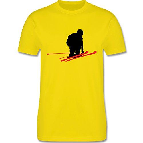 Wintersport - Abfahrt schwarze Piste - Schuss - Herren Premium T-Shirt Lemon Gelb