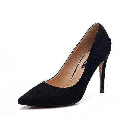 Bbdsj Donne Tacchi Alti Tacchi Sexy Fashion 10cm Tacchi A Punta Camoscio Tacchi Alti Scarpe Da Donna Professionali.black High Heels A