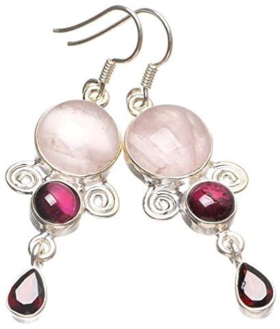 StarGems(tm) Natural Rose Quartz,Amethyst and Garnet Handmade Boho 925 Sterling Silver Earrings 2