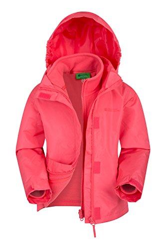 Mountain Warehouse Fell 3-in-1-Jacke für Kinder - Freizeitjacke mit Reißverschluss, wasserbeständiger Regenmantel, Innenteil aus Fleece, vestellbare Kapuze Koralle 116 (5-6 Jahre)