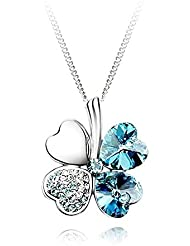 Collier trèfle bleu So Charm made with crystal from Swarovski