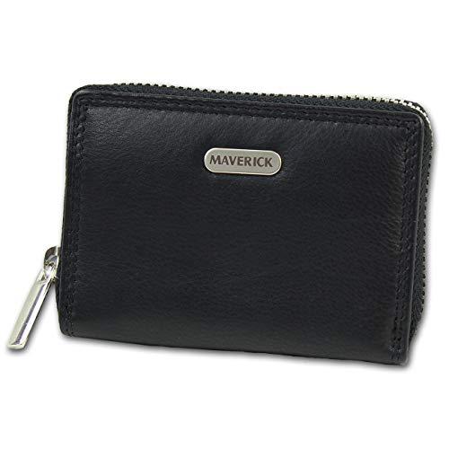 Maverick Leder Geldbörse Brieftasche Portemonnaie schwarz 10x2,5x7cm D1OPD1130S - Maverick Leder