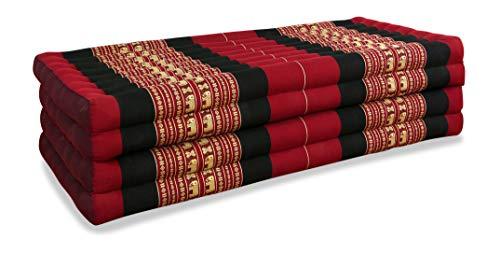 livasia Klappmatratze extrabreit (195cm x 110cm) aus Kapok, Faltbare Gästematratze, klappbare Matratze, asiatische Faltmatratze (rot/Elefanten)