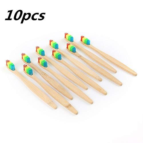 Cepillo de dientes de bambú natural/color arcoíris suave cerdas de carbón/cuidado dental oral/protección del medio ambiente mango de bambú