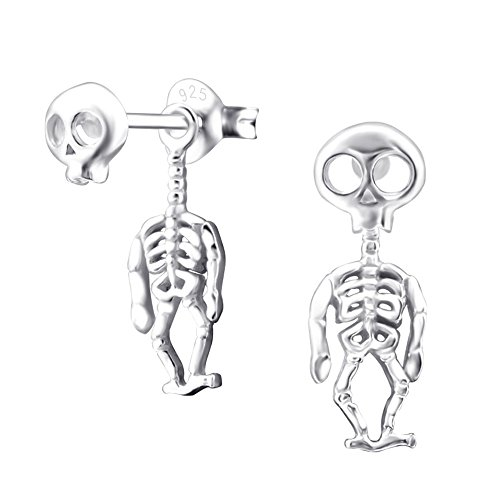 Ohrringe Skelett - Laimons Damen-Ohrstecker Skelett Totenkopf glanz Sterling