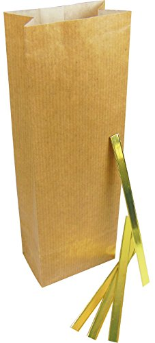 teevendo 100x Teetüten Natron natur 100g inkl. 100 Verschlussclips gold