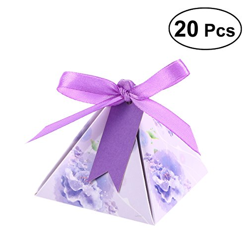 Amosfun 20pcs Candy Boxs Watercolor Pyramid Triangle Shape Baby Shower Baby Day Chocolate Box Wedding Party Favors Birthday Gift Decorations (Purple and Blue) (Blue Wedding Favor Boxes)