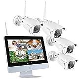 """ANNKE Videosorveglianza WIfi 4CH 1080P FHD Sistema di sorveglianza NVR con Monitor LCD da 12"""" Pollici IP Bullet 1080P Visione Notturna IR Accesso Remoto senza HDD"""