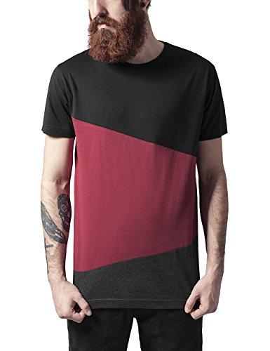 Urban Classics Long Shaped Zig Zag Tee, T-Shirt Uomo, Mehrfarbig (Blk/Burgundy/Cha 734), L