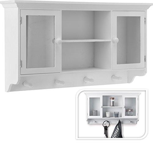 Garderoben-schrank Flur Schränkchen Ankleide Flur-Garderobe 60 x 15 x 34 cm Holz Glas-türen weiß