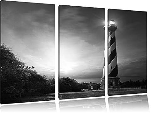 Cape Hatteras Leuchttum Kunst B&W 3-Teiler Leinwandbild 120x80 Bild auf Leinwand, XXL riesige Bilder fertig gerahmt mit Keilrahmen, Kunstdruck auf Wandbild mit Rahmen, gänstiger als Gemälde oder Ölbild, kein Poster oder Plakat