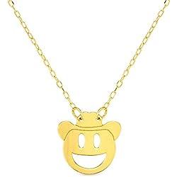 Collar de oro amarillo de 14 quilates con emoticonos de peluche, 40,64 cm