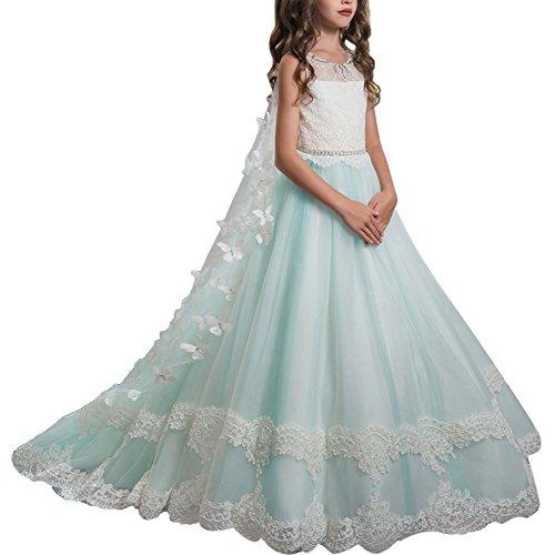 OBEEII Blumenmädchen Mädchen Applique Prinzessin Lang Kleid Elegante Tüll Kleid für Hochzeit...