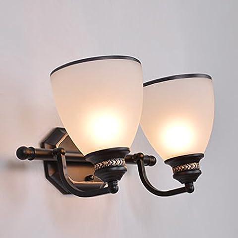WGL Rétro lampe de chevet Chambre à coucher Cuisine de l'allée couloir d'éclairage Toilette Simple et Creative Bathroom Wall Lamp attendre ( Couleur : Blanc )