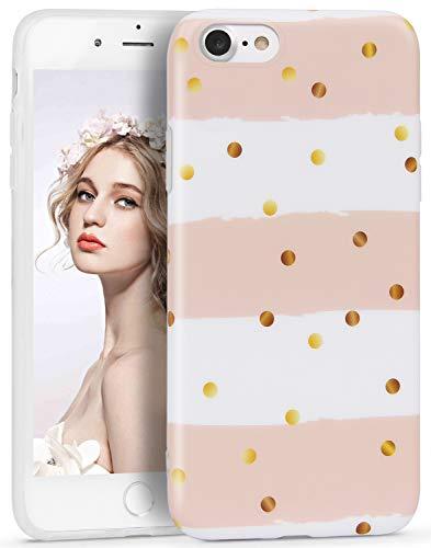 Imikoko iPhone 7 Hülle,iPhone 8 Hülle, iPhone 7/iPhone 8 R&umschutz Handy Hülle Schutzhülle Weich Silikon TPU Case Streifen Super Sweet Cute für Girl Frauen Mädchen