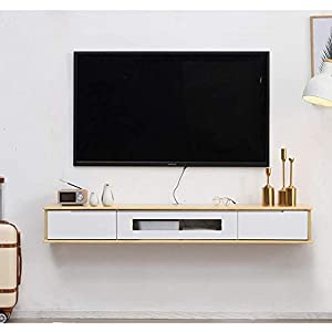 AGYE Wood Floating TV Stand Cabinet, TV Cabinet For Living Room,TV Unit Storage Console,TV Cabinet With Two Shelves,for Living Room,Bedroom,WoodColor+white-120x24x20cm   14