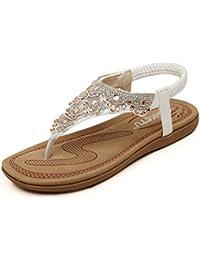 Easemax Damen Bohemia Strass Clip Toe Flach ohne Verschluss Sommer Sandalen Weiß 36 EU